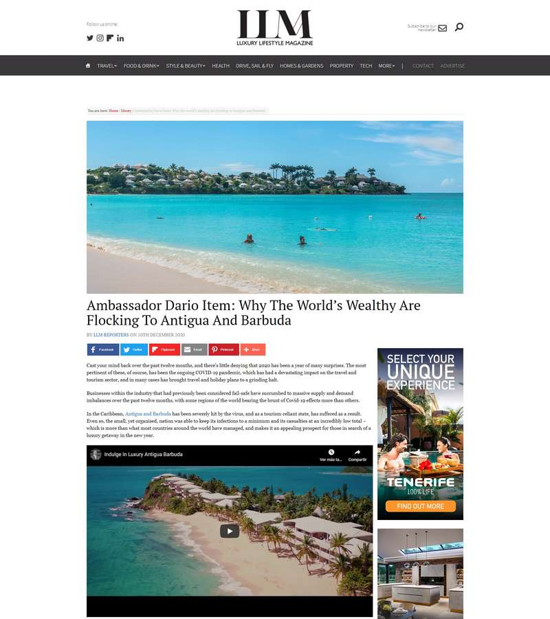 Ambassador Dario Item: Why The World's Wealthy Are Flocking To Antigua And Barbuda