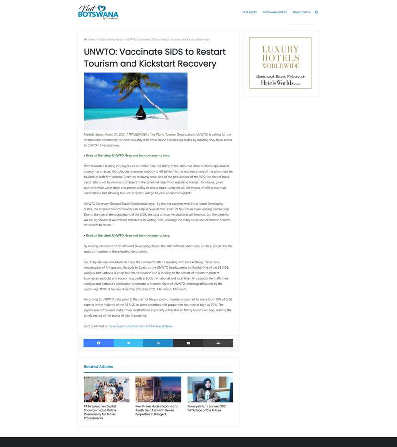 UNWTO: Vaccinate SIDS to Restart Tourism and Kickstart Recovery